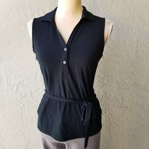 Banana Republic Sleeveless Collared Belted Top